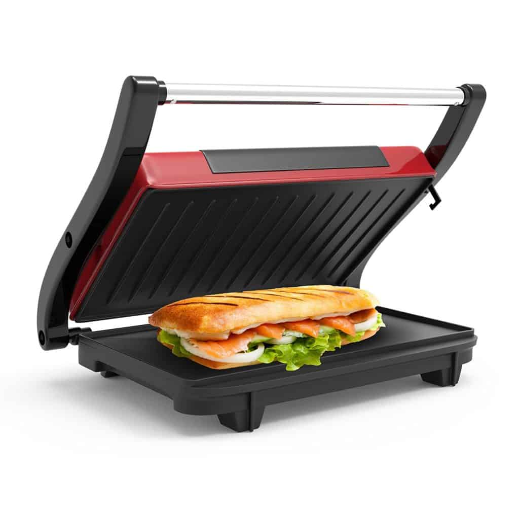 Panini Press Indoor Grill and Gourmet Sandwich Maker with Nonstick Plates (Red) by Chef Buddy